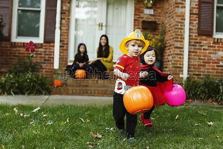 boy dressed as fireman with trick