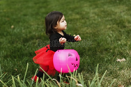 girl in fancy dress costume with