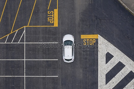 aerial view of car in parking