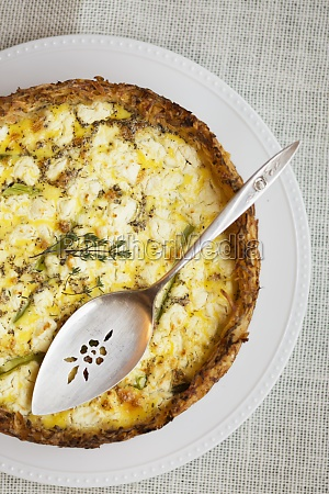 still life of quiche made with