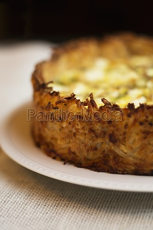 detail of quiche made with eggs