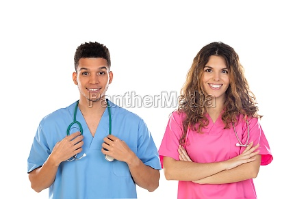 medical professionals with colorful uniforms