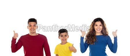 happy interracial family saying ok