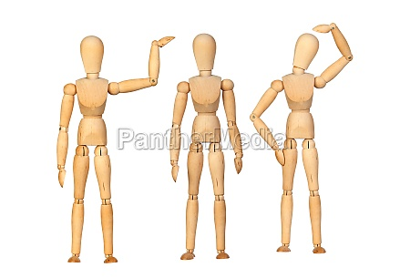 many wooden mannequin doing differents gestures