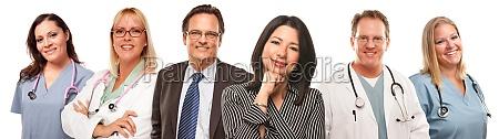 hispanic woman and man with doctors