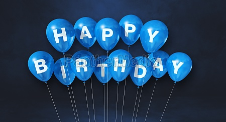 blue happy birthday air balloons on