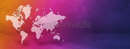 world map on rainbow wall background