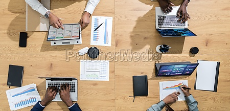 overhead view of african business people