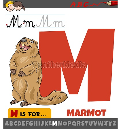 letter m from alphabet with cartoon