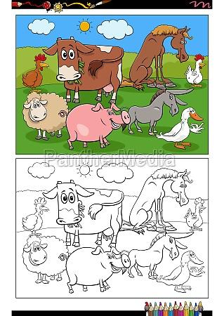 cartoon farm animals characters coloring book