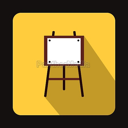 wooden easel icon in flat style