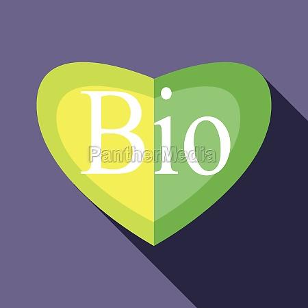 green bio heart icon in flat