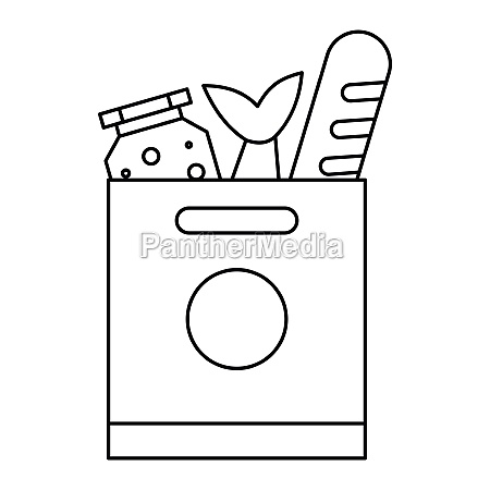 grocery bag with food icon outline