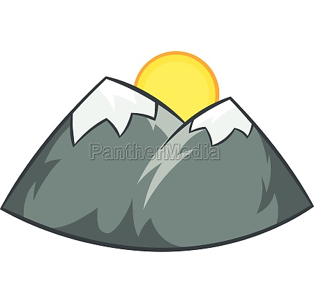 mountains and sun icon cartoon style