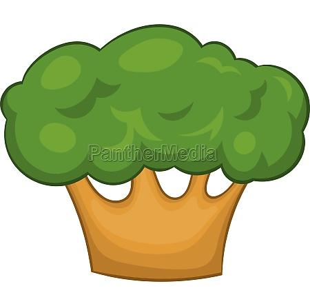 big green tree icon in cartoon