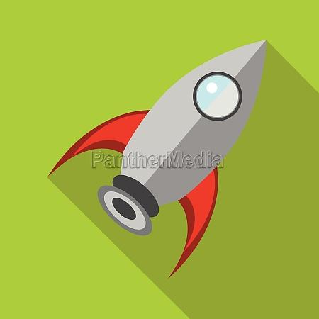 retro rocket icon in flat style