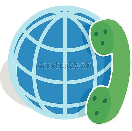 calls around world icon isometric 3d