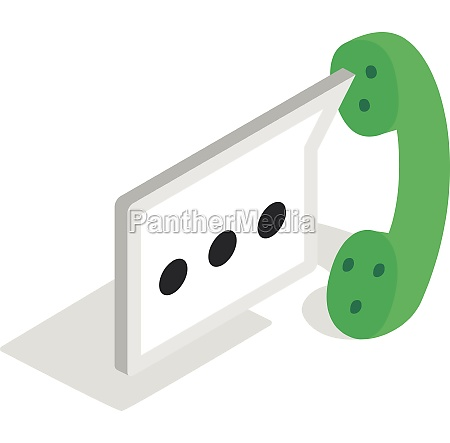 consultation by phone icon isometric 3d