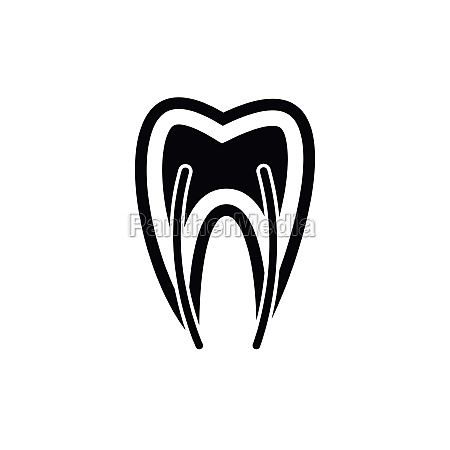 tooth cross section icon simple style