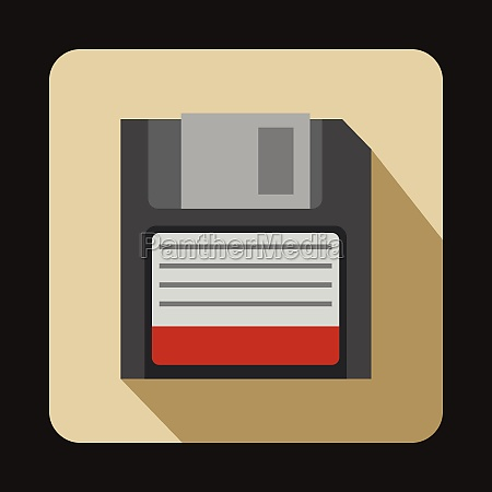magnetic diskette icon flat style