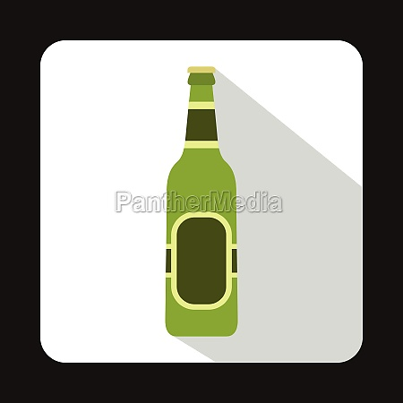 green bottle of beer icon flat