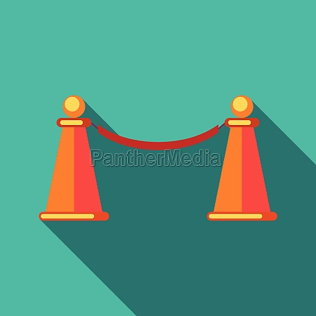 barrier rope icon in flat style