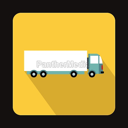 cargo delivery truck icon flat style