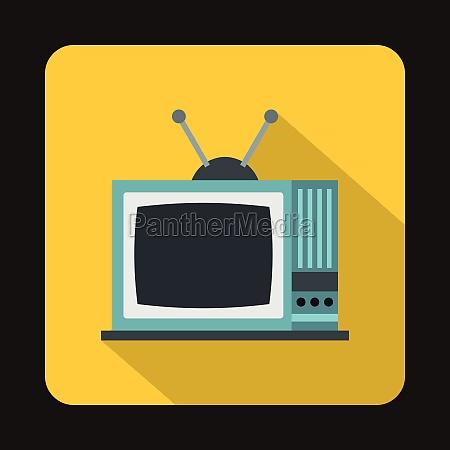 retro tv icon in flat style