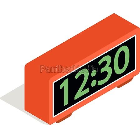 digital clock icon isometric 3d style