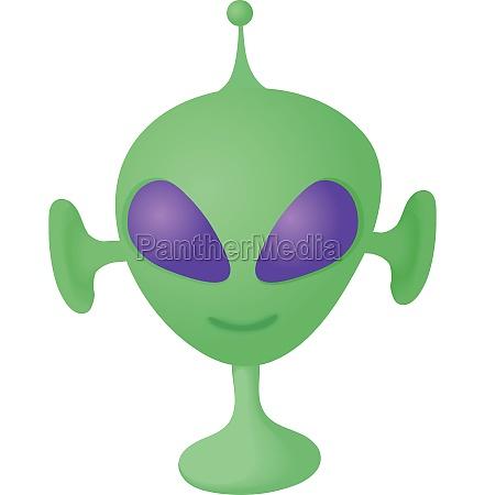 alien icon in cartoon style
