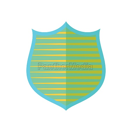 shield with yellow stripes icon flat