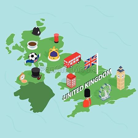 united kingdom map isometric 3d style