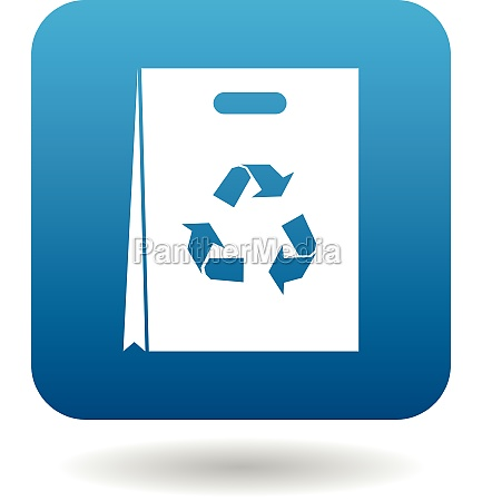 paper shopping bag with recycling symbol