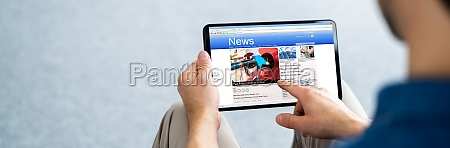 reading newspaper article online