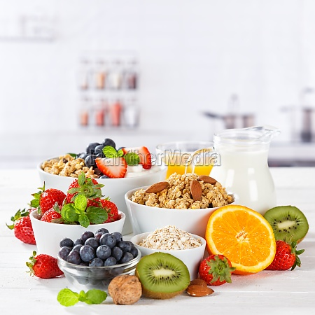 healthy breakfast strawberry yogurt fruit bowl