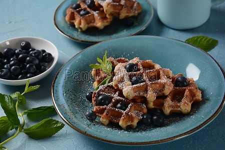 traditional belgian waffles with fresh fruit