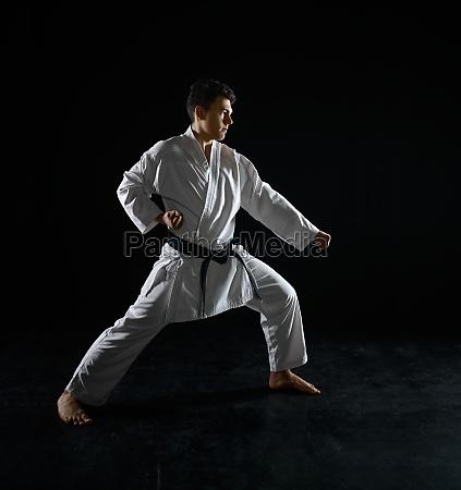male karate fighter in a combat