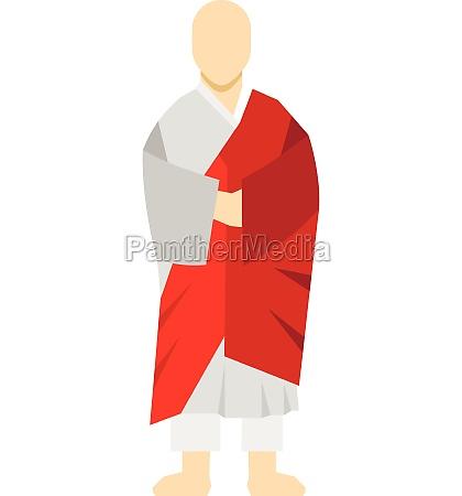 korean monk icon flat style