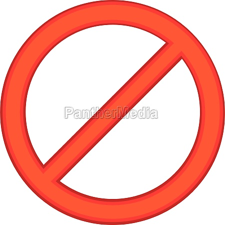 red sign ban icon cartoon style