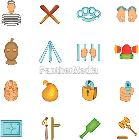 crime icons set cartoon style