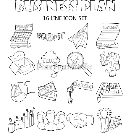 business plan icons set outline style