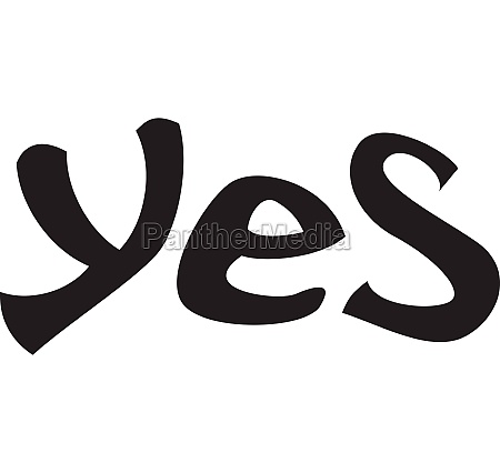 word yes icon simple style