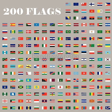 200 flags set of the world