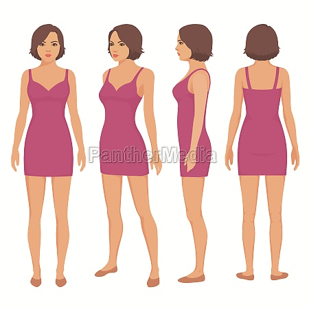 womanin dress front back and side