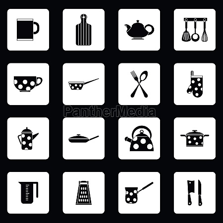 kitchen utensil icons set simple style