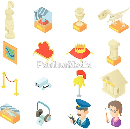 museum icons set in cartoon style