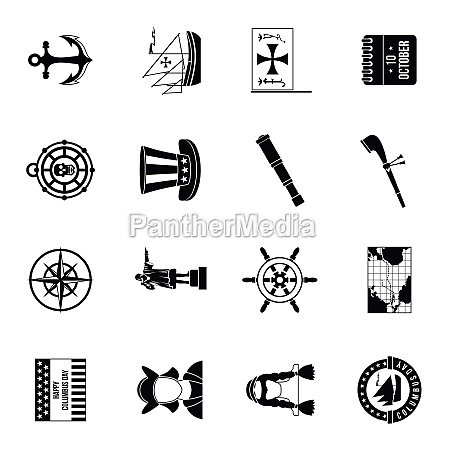 columbus day icons set simple style