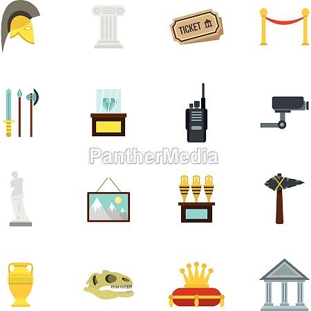 museum icons set flat style