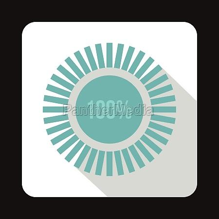 loading circle 100 percent icon flat