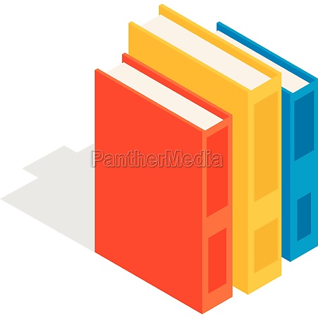 vertical stack of colorful books icon
